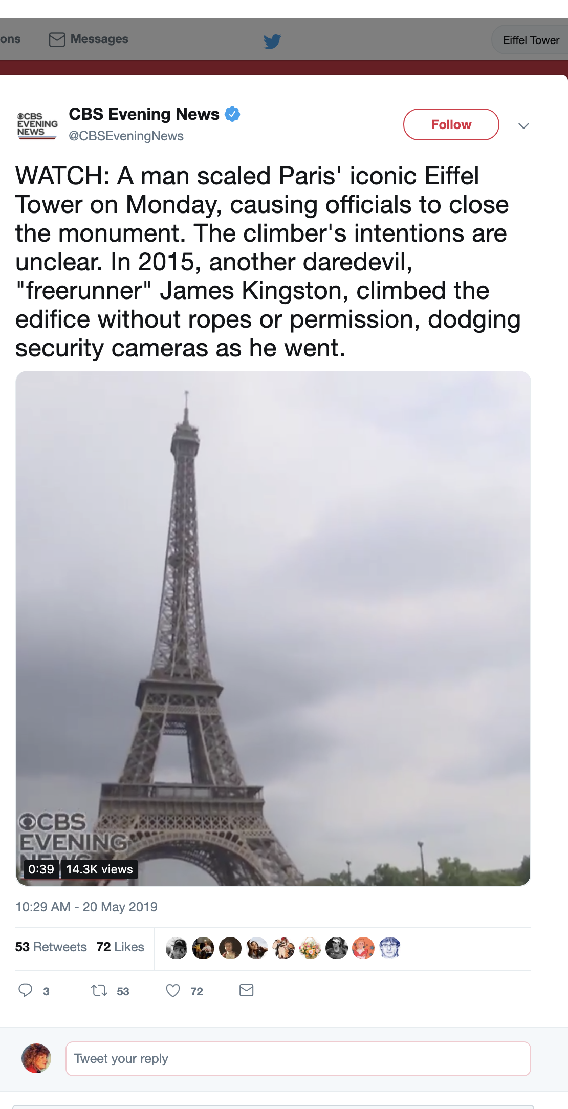 Screen-Shot-2019-05-20-at-12.14.40-PM JUST IN: Police Shut Down Eiffel Tower Shut Over Criminal Act Crime Foreign Policy Social Media Top Stories