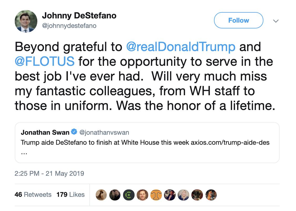 Screen-Shot-2019-05-21-at-4.18.03-PM Senior WH Aide Leaving Job, Posts Seemingly Forced Tweet Corruption Crime Domestic Policy Donald Trump Politics Top Stories
