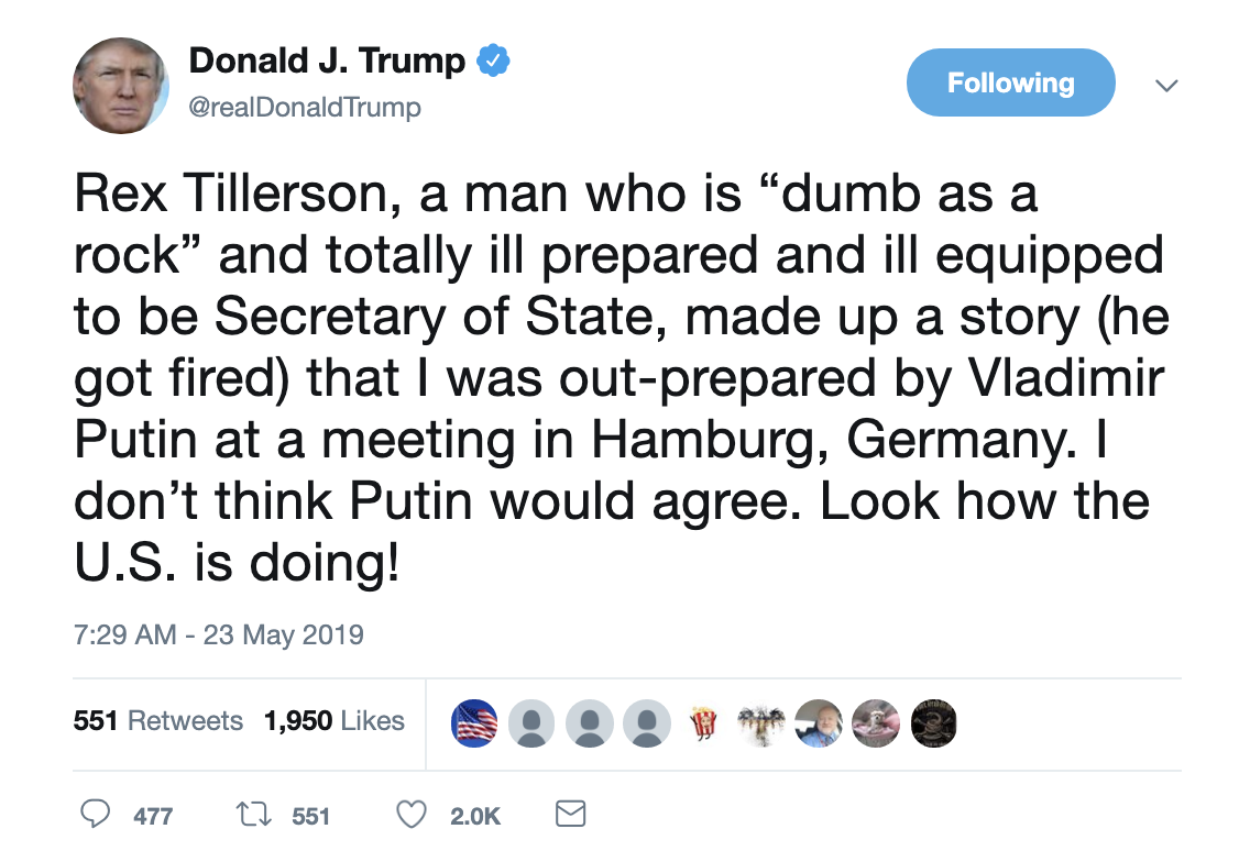 Screen-Shot-2019-05-23-at-7.31.26-AM Trump Acts A Fool On Twitter During Bizarre Pre-Dawn Freakout Corruption Crime Domestic Policy Donald Trump Election 2016 Election 2020 Politics Top Stories
