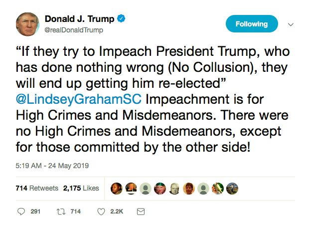 Screen-Shot-2019-05-24-at-8.21.50-AM Trump Rages Out Of Bed Like A Maniac, Wails About Inevitable Demise On Twitter Crime Donald Trump Featured Impeachment Mueller Politics Top Stories Twitter
