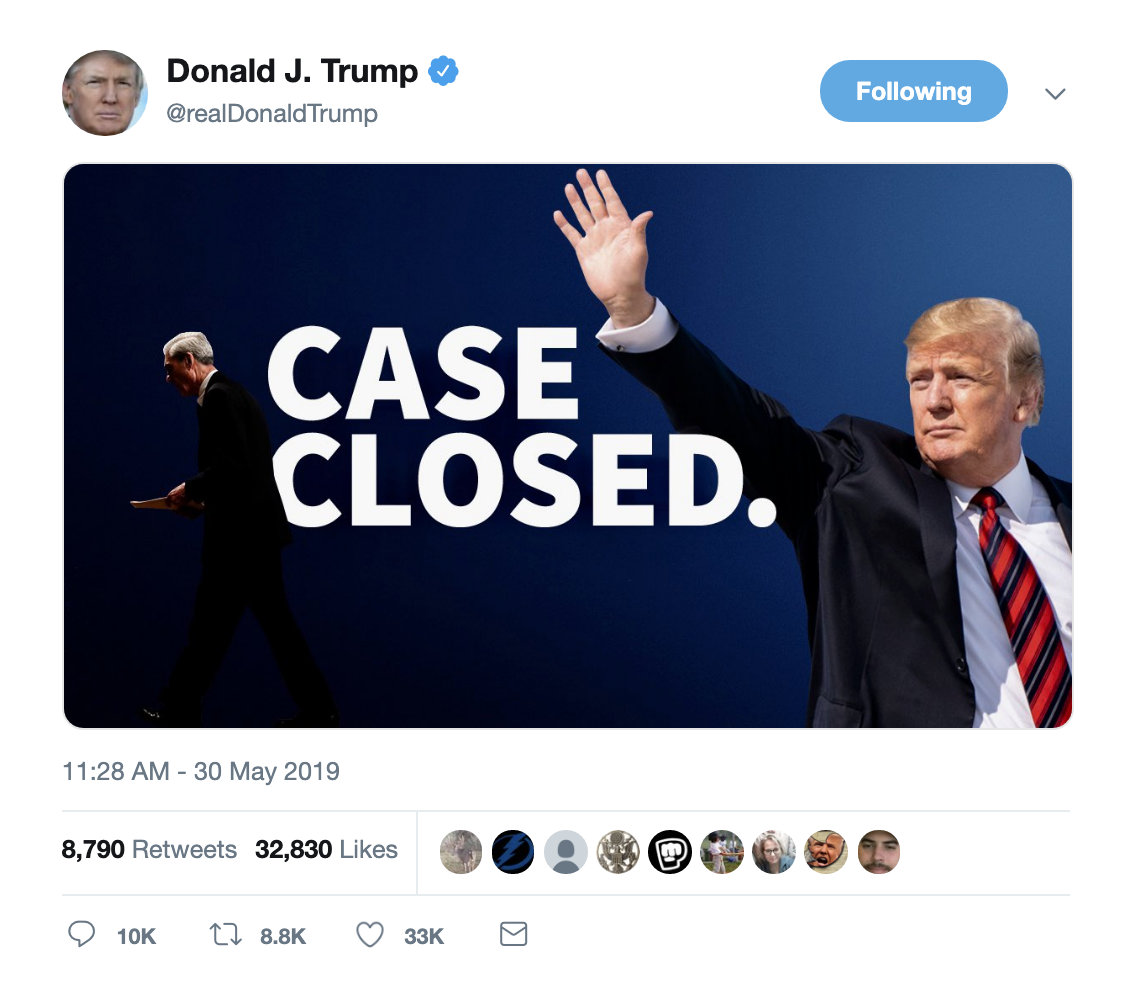 Screen-Shot-2019-05-30-at-1.30.05-PM Trump Tweets Arrogant Mueller Meme & Gets Eaten Alive Immediately Corruption Crime Donald Trump Election 2016 Impeachment Investigation Mueller Politics Robert Mueller Russia Top Stories