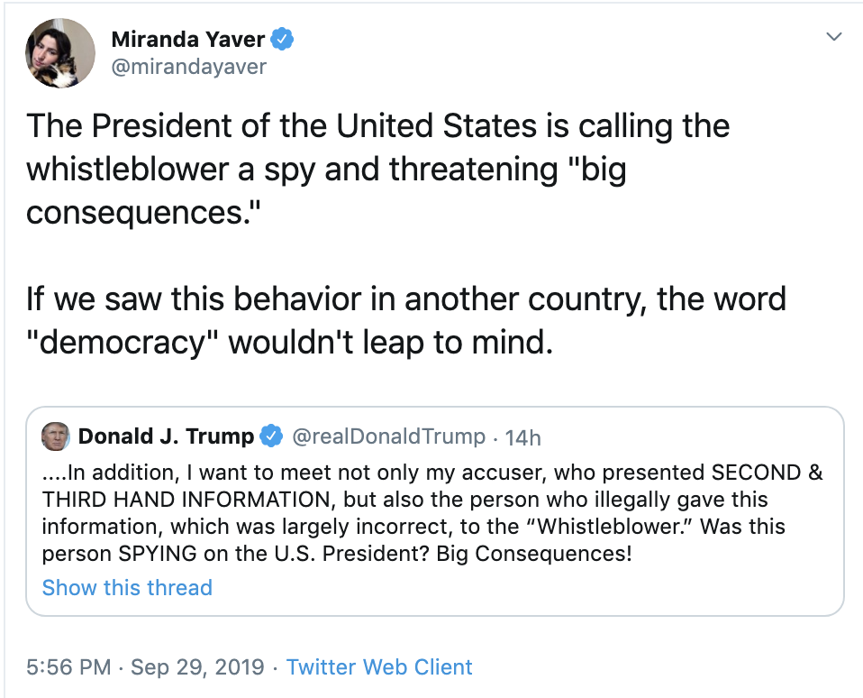 e8dfc805-screen-shot-2019-09-30-at-8.18.03-am Trump Incites Violence Against Whistleblower - Lawyer Hits Back Corruption Crime Domestic Policy Donald Trump Election 2016 Election 2020 Featured Foreign Policy Hate Speech Impeachment Investigation National Security Politics Top Stories Violence
