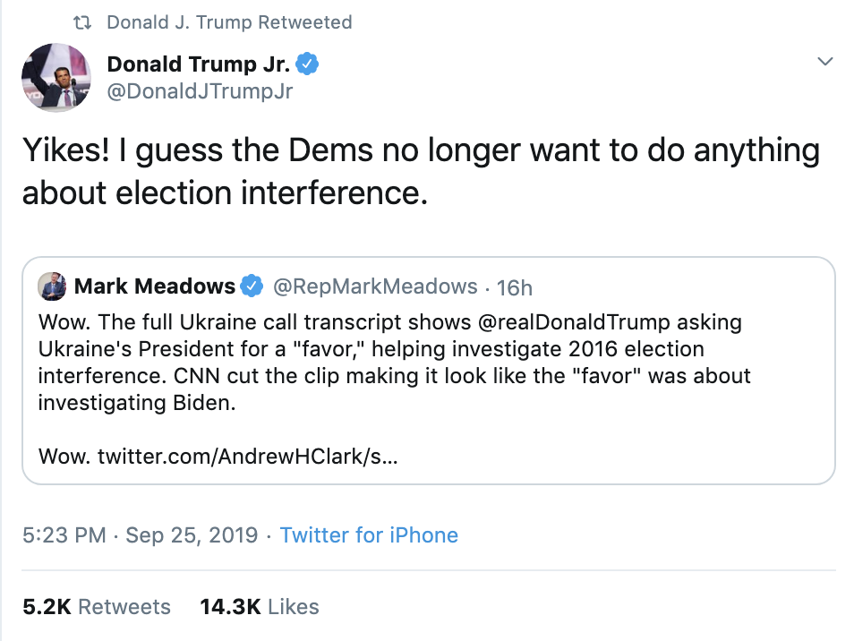 ef1d478e-screen-shot-2019-09-26-at-7.33.44-am Trump Tweets 24x's Times As Whistleblower Complaint Hits public Corruption Crime Domestic Policy Donald Trump Election 2020 Featured Foreign Policy Impeachment Investigation Military Politics Russia Top Stories