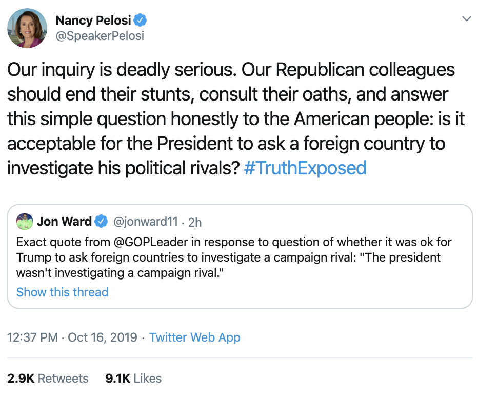 Screen-Shot-2019-10-16-at-1.45.24-PM Pelosi Trolls Trump & GOP With Impeachment Tweet To America Corruption Crime Domestic Policy Donald Trump Election 2016 Election 2020 Featured Feminism Impeachment Investigation Me Too National Security Politics Scandal Top Stories Women's Rights