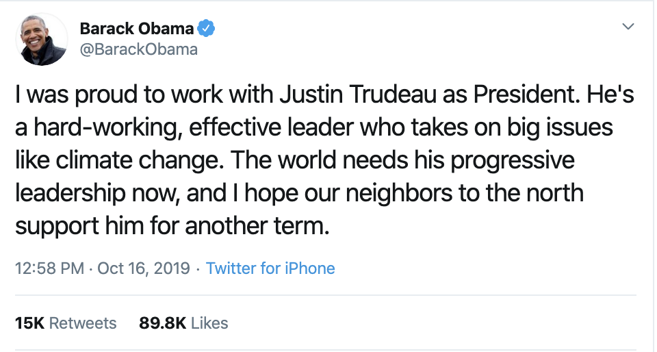 Screen-Shot-2019-10-16-at-2.36.51-PM Obama Tweets Wednesday Endorsement  That Has Conservatives Fuming Activism Black Lives Matter Civil Rights Corruption Domestic Policy Featured Foreign Policy Politics Top Stories