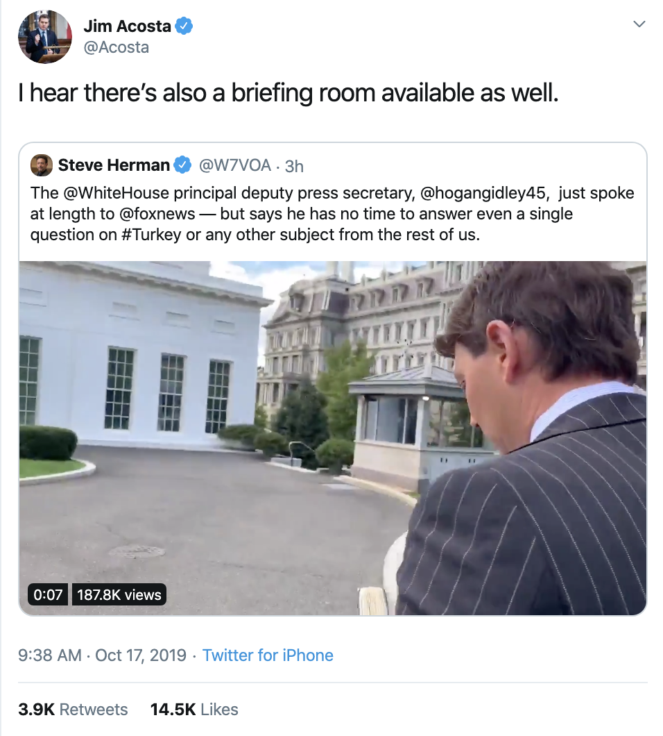 Screen-Shot-2019-10-17-at-1.20.44-PM-1 Acosta Trolls Mulvaney With Thursday Tweet Shaming Corruption Crime Donald Trump Featured Media Politics Television Top Stories