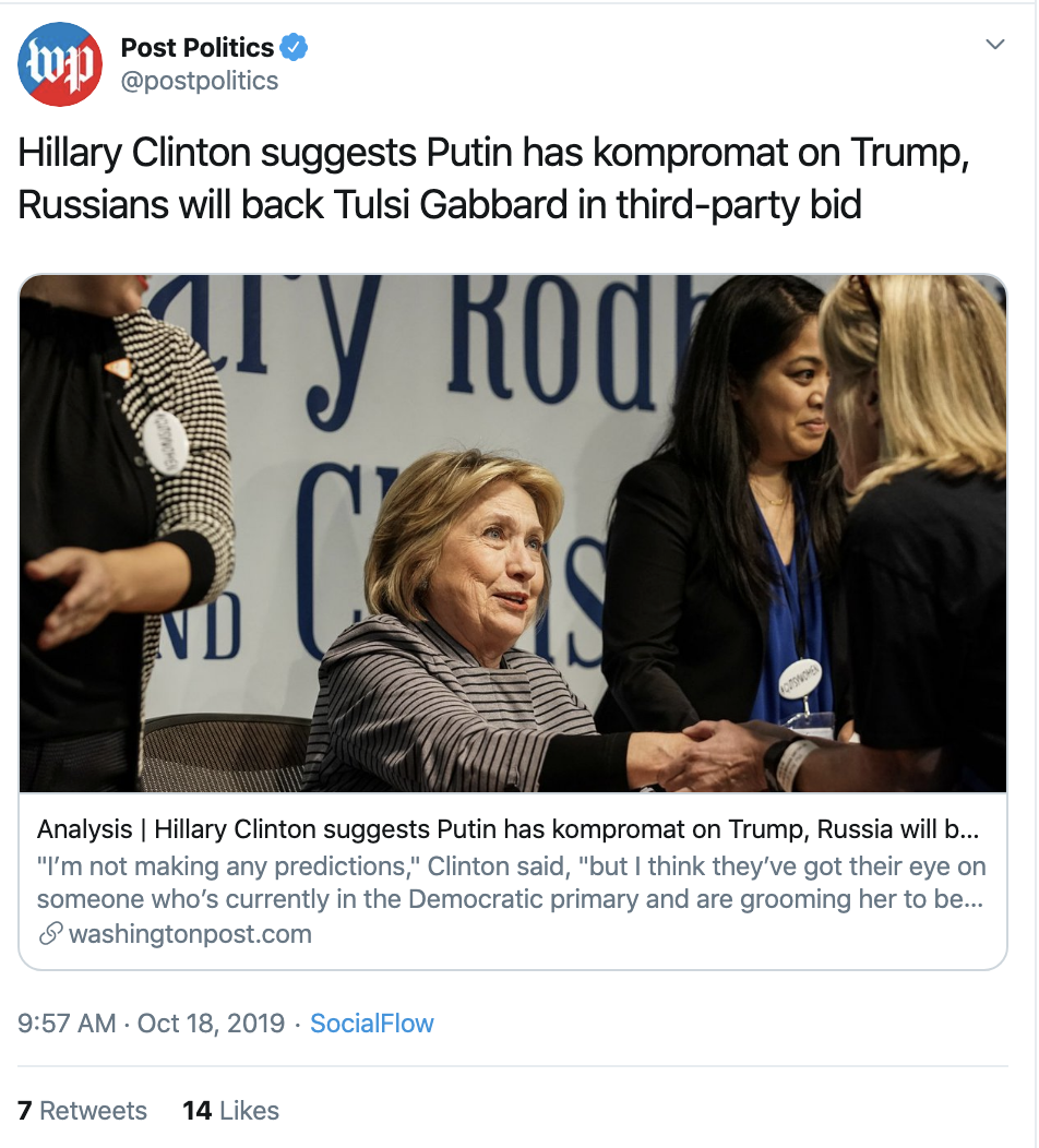 Screen-Shot-2019-10-18-at-10.30.06-AM Hillary Clinton Announces Russian Backed 3rd Party Candidate Corruption Crime Donald Trump Election 2016 Election 2020 Featured Politics Russia Social Media Top Stories Uncategorized