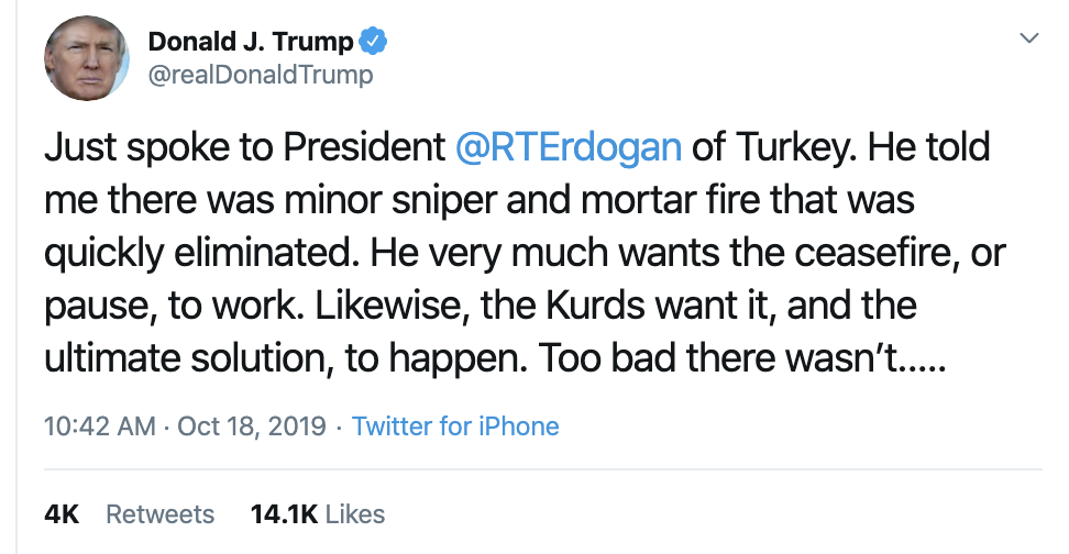 Screen-Shot-2019-10-18-at-11.12.54-AM Trump Has Impeachment Induced 5-Tweet Friday Mental Collapse Corruption Crime Donald Trump Election 2016 Election 2020 Foreign Policy Hate Speech Human Rights Impeachment Mass Shootings National Security Politics Russia Scandal Social Media Top Stories