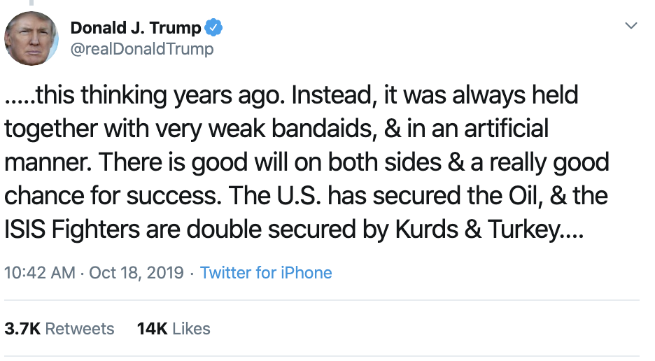 Screen-Shot-2019-10-18-at-11.30.32-AM Trump Has Impeachment Induced 5-Tweet Friday Mental Collapse Corruption Crime Donald Trump Election 2016 Election 2020 Foreign Policy Hate Speech Human Rights Impeachment Mass Shootings National Security Politics Russia Scandal Social Media Top Stories