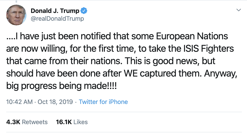 Screen-Shot-2019-10-18-at-11.31.14-AM Trump Has Impeachment Induced 5-Tweet Friday Mental Collapse Corruption Crime Donald Trump Election 2016 Election 2020 Foreign Policy Hate Speech Human Rights Impeachment Mass Shootings National Security Politics Russia Scandal Social Media Top Stories
