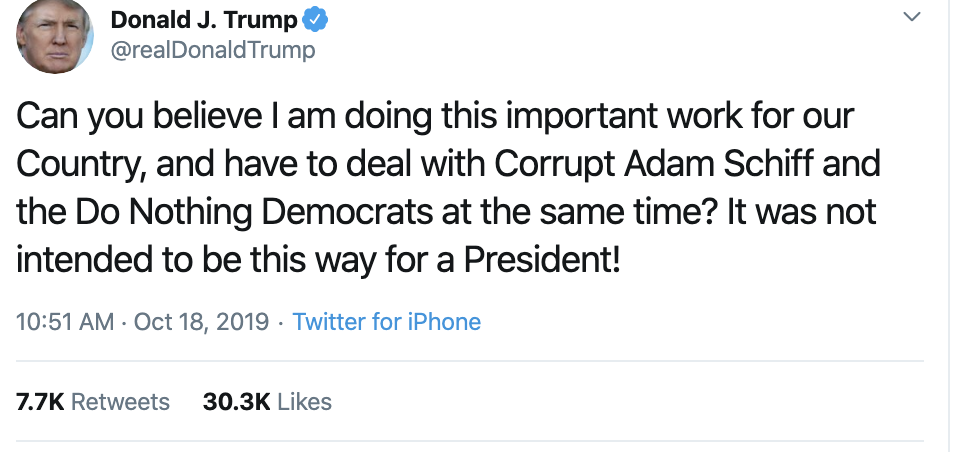 Screen-Shot-2019-10-18-at-11.32.35-AM Trump Has Impeachment Induced 5-Tweet Friday Mental Collapse Corruption Crime Donald Trump Election 2016 Election 2020 Foreign Policy Hate Speech Human Rights Impeachment Mass Shootings National Security Politics Russia Scandal Social Media Top Stories