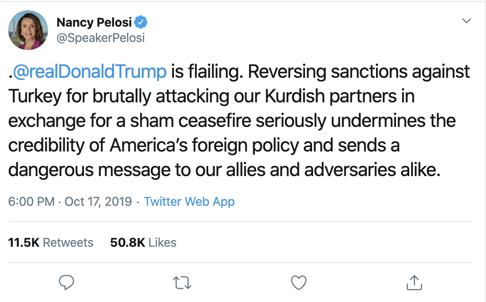 Screen-Shot-2019-10-18-at-8.11.51-AM Pelosi Tags Trump On Twitter & Embarrasses Him In Front Of The World Corruption Crime Domestic Policy Donald Trump Election 2020 Featured Feminism Foreign Policy Impeachment Me Too National Security Politics Russia Sexism Top Stories War