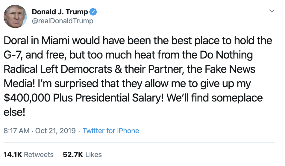 Screen-Shot-2019-10-21-at-12.15.31-PM Trump Is Whining About His Doral/G7 Idea Like It Was Smart Corruption Crime Domestic Policy Donald Trump Economy Election 2016 Election 2020 Featured Foreign Policy History Impeachment Investigation National Security Politics Top Stories