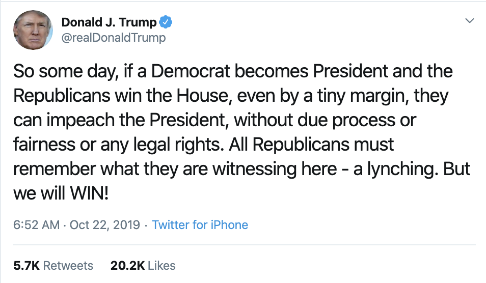 Screen-Shot-2019-10-22-at-7.28.48-AM Trump Calls Impeachment 'A Lynching' In Tuesday AM Outburst Corruption Crime Domestic Policy Donald Trump Election 2016 Election 2020 Featured Hillary Clinton Investigation Islamaphobia Politics Top Stories