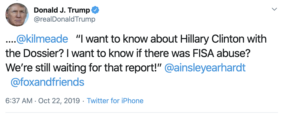Screen-Shot-2019-10-22-at-7.49.42-AM Trump Calls Impeachment 'A Lynching' In Tuesday AM Outburst Corruption Crime Domestic Policy Donald Trump Election 2016 Election 2020 Featured Hillary Clinton Investigation Islamaphobia Politics Top Stories
