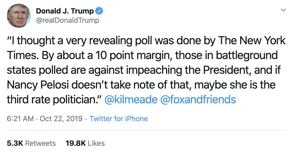 Screen-Shot-2019-10-22-at-7.52.45-AM Trump Calls Impeachment 'A Lynching' In Tuesday AM Outburst Corruption Crime Domestic Policy Donald Trump Election 2016 Election 2020 Featured Hillary Clinton Investigation Islamaphobia Politics Top Stories