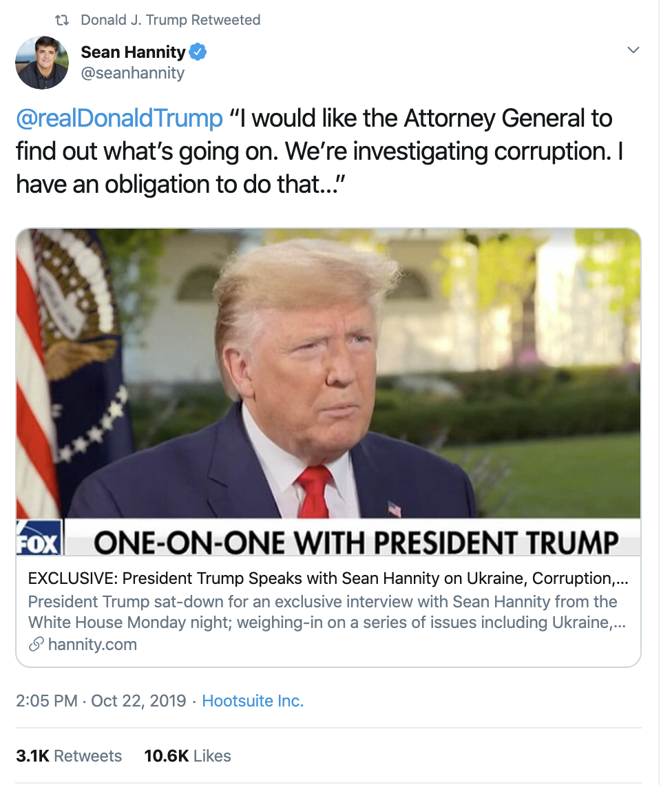 Screen-Shot-2019-10-23-at-7.54.31-AM Trump Has Embarrassing 18-Tweet Impeachment Induced Wednesday Meltdown Corruption Crime Domestic Policy Donald Trump Election 2016 Election 2020 Featured Foreign Policy Impeachment Investigation Military National Security Politics Russia Top Stories