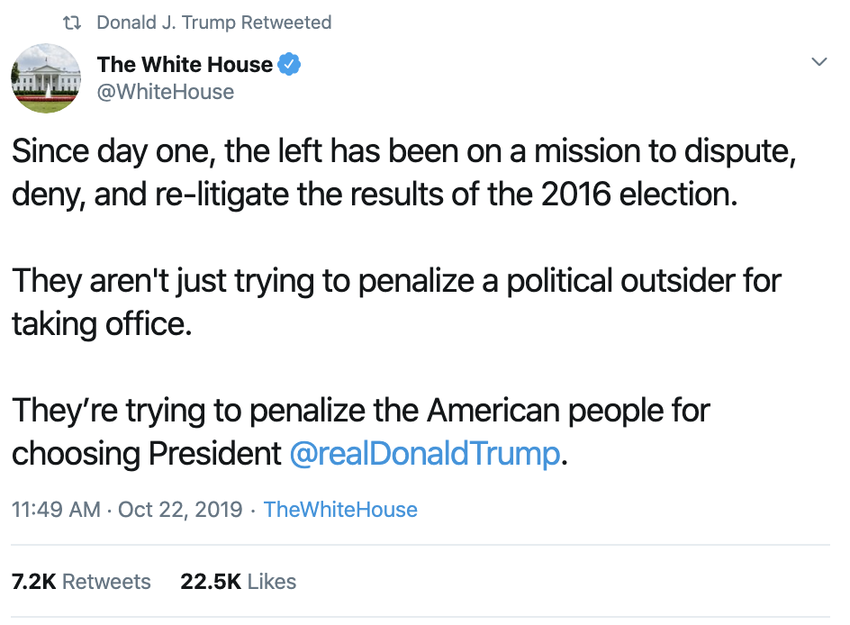 Screen-Shot-2019-10-23-at-7.57.36-AM Trump Has Embarrassing 18-Tweet Impeachment Induced Wednesday Meltdown Corruption Crime Domestic Policy Donald Trump Election 2016 Election 2020 Featured Foreign Policy Impeachment Investigation Military National Security Politics Russia Top Stories