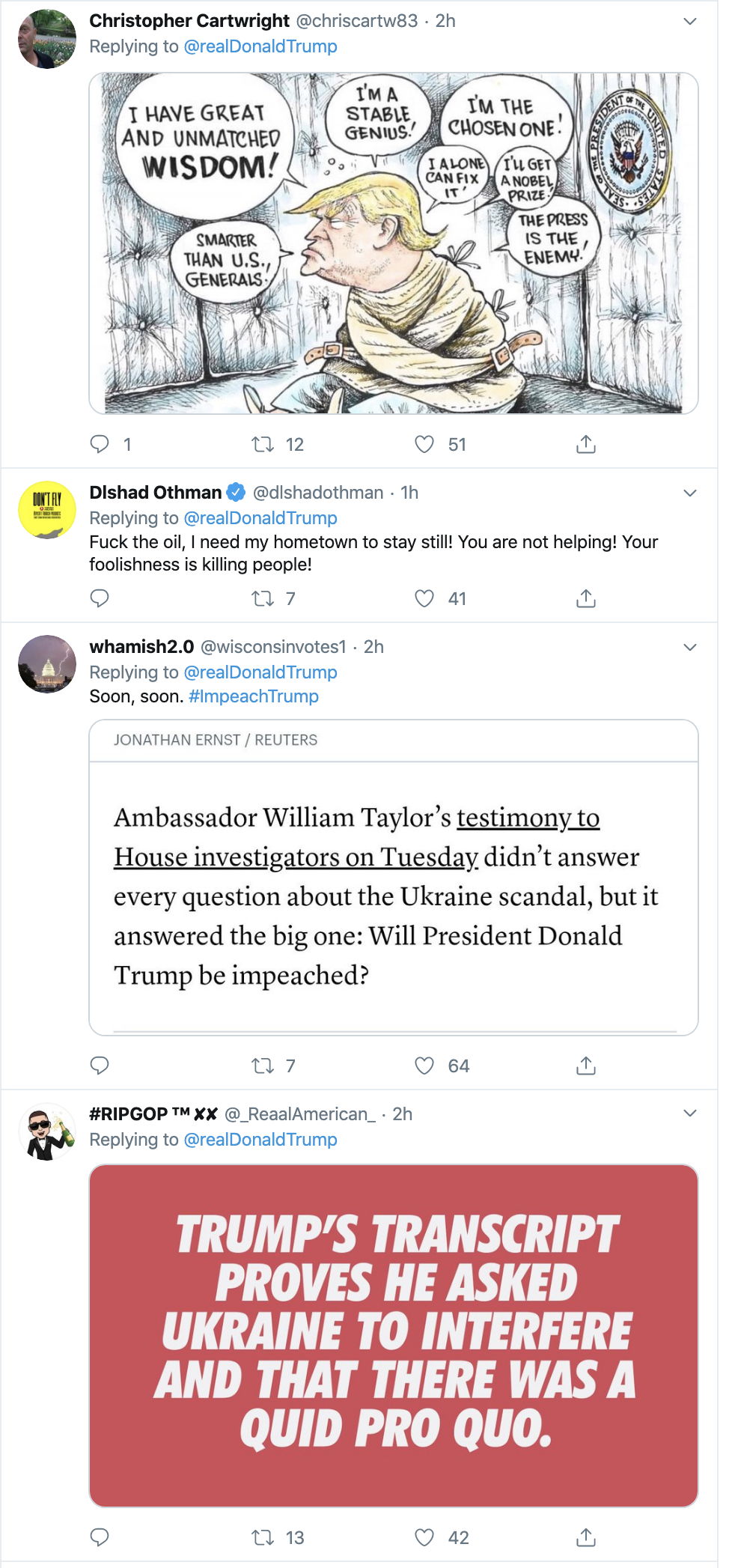 Screen-Shot-2019-10-24-at-1.04.44-PM Trump Tweets Pure Craziness & Gets Blistered For It Corruption Crime Donald Trump Economy Election 2020 Featured Foreign Policy Impeachment Investigation Military Politics Terrorism Violence War