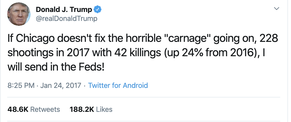 Screen-Shot-2019-10-28-at-8.42.26-AM Trump Tweet-Rants About Chicago Like He Hates The City Corruption Crime Domestic Policy Donald Trump Election 2016 Election 2020 Featured Gun Control Hate Speech Investigation Mass Shootings National Security NRA Politics Shooting Top Stories Violence White Supremacy