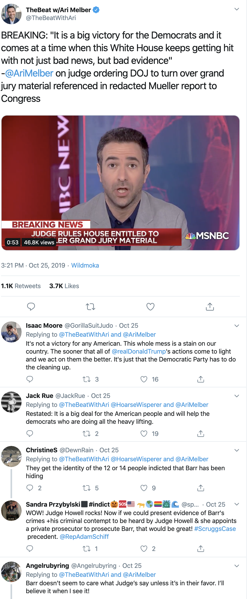 Screen-Shot-2019-10-29-at-1.06.58-PM Judge's Bulletproof Finding Gets Dems Access To Evidence Corruption Crime Domestic Policy Donald Trump Election 2016 Election 2020 Featured Impeachment Investigation Mueller Politics Robert Mueller Top Stories