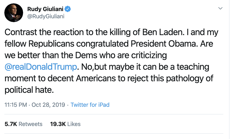 Screen-Shot-2019-10-29-at-9.02.24-AM Giuliani Makes Spelling Error On Twitter No 'Patriot' Should Make Corruption Crime Domestic Policy Donald Trump Election 2016 Election 2020 Featured Foreign Policy History Impeachment Investigation Mental Illness Military National Security Politics Russia Top Stories War