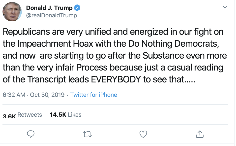 Screen-Shot-2019-10-30-at-7.15.49-AM Trump Goes On AM Twitter Tirade, Misspelling Multiple Words Corruption Crime Domestic Policy Donald Trump Economy Election 2016 Election 2020 Featured Foreign Policy Impeachment Investigation Military National Security Politics Russia Top Stories War