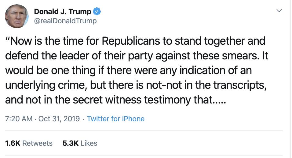 Screen-Shot-2019-10-31-at-7.27.19-AM Trump Has Impeachment Fear Induced 5-Tweet Thursday Meltdown Corruption Crime Domestic Policy Donald Trump Economy Election 2016 Election 2020 Featured Foreign Policy History Impeachment Investigation Media Military National Security Politics Russia Terrorism Top Stories War