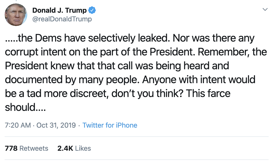 Screen-Shot-2019-10-31-at-7.30.37-AM Trump Has Impeachment Fear Induced 5-Tweet Thursday Meltdown Corruption Crime Domestic Policy Donald Trump Economy Election 2016 Election 2020 Featured Foreign Policy History Impeachment Investigation Media Military National Security Politics Russia Terrorism Top Stories War