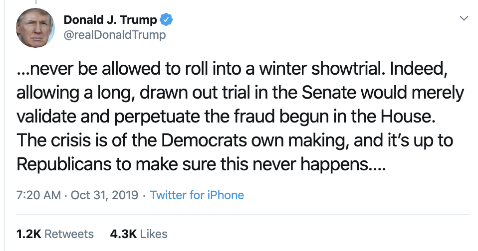 Screen-Shot-2019-10-31-at-7.31.42-AM Trump Has Impeachment Fear Induced 5-Tweet Thursday Meltdown Corruption Crime Domestic Policy Donald Trump Economy Election 2016 Election 2020 Featured Foreign Policy History Impeachment Investigation Media Military National Security Politics Russia Terrorism Top Stories War