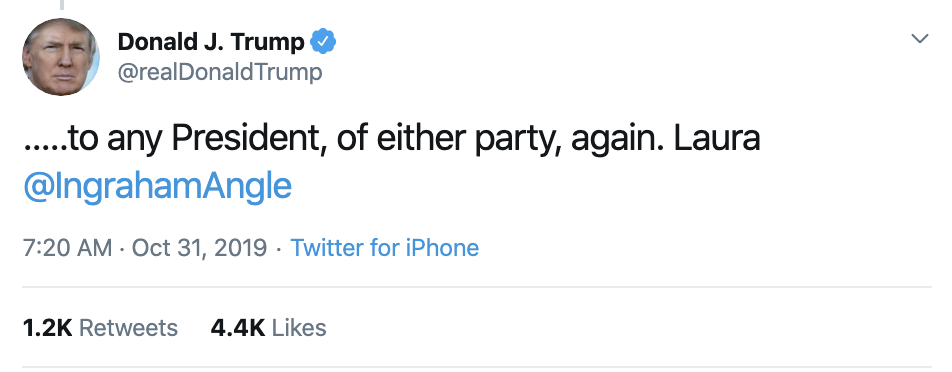 Screen-Shot-2019-10-31-at-7.32.26-AM Trump Has Impeachment Fear Induced 5-Tweet Thursday Meltdown Corruption Crime Domestic Policy Donald Trump Economy Election 2016 Election 2020 Featured Foreign Policy History Impeachment Investigation Media Military National Security Politics Russia Terrorism Top Stories War