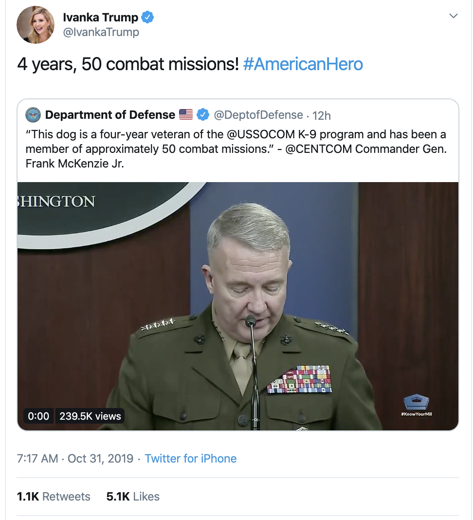 Screen-Shot-2019-10-31-at-8.18.49-AM Ivanka Tweets Thursday Message About 'Combat' & Gets Roasted In Seconds Corruption Crime Domestic Policy Donald Trump Election 2020 Featured Foreign Policy Impeachment Investigation Military Politics Terrorism Top Stories War