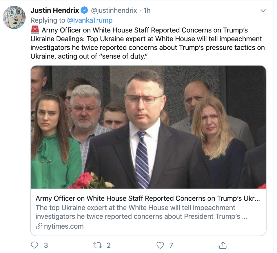 Screen-Shot-2019-10-31-at-8.19.21-AM Ivanka Tweets Thursday Message About 'Combat' & Gets Roasted In Seconds Corruption Crime Domestic Policy Donald Trump Election 2020 Featured Foreign Policy Impeachment Investigation Military Politics Terrorism Top Stories War