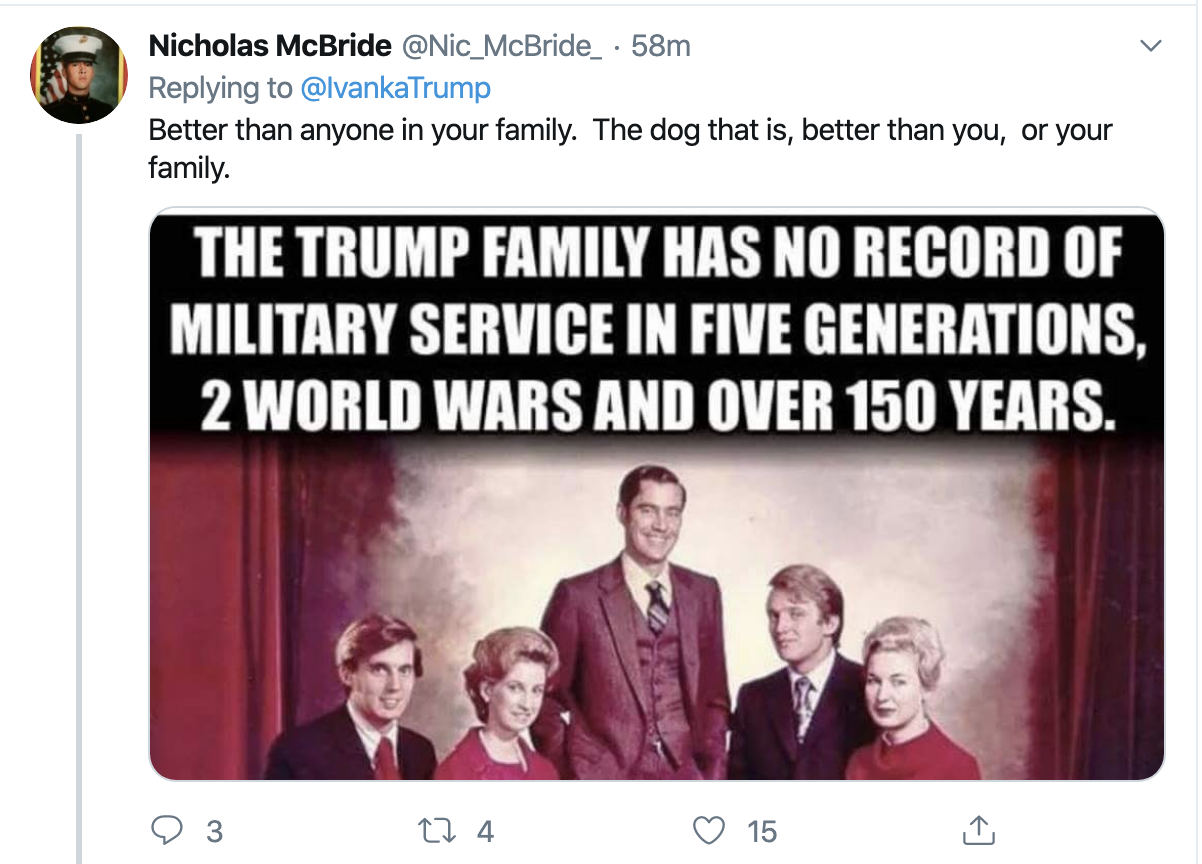 Screen-Shot-2019-10-31-at-8.20.56-AM Ivanka Tweets Thursday Message About 'Combat' & Gets Roasted In Seconds Corruption Crime Domestic Policy Donald Trump Election 2020 Featured Foreign Policy Impeachment Investigation Military Politics Terrorism Top Stories War