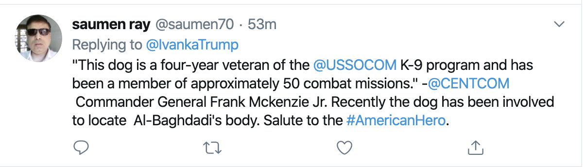 Screen-Shot-2019-10-31-at-8.21.44-AM Ivanka Tweets Thursday Message About 'Combat' & Gets Roasted In Seconds Corruption Crime Domestic Policy Donald Trump Election 2020 Featured Foreign Policy Impeachment Investigation Military Politics Terrorism Top Stories War