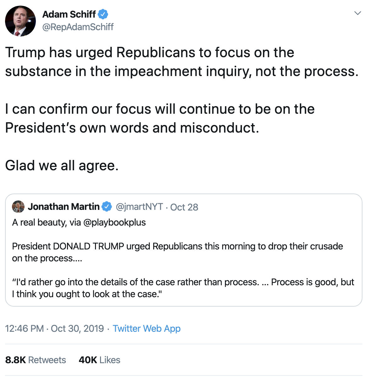 Screen-Shot-2019-10-31-at-8.47.08-AM Schiff Checkmates Trump With Incriminating Tweet Using Donald's Own Words Corruption Crime Domestic Policy Donald Trump Election 2016 Election 2020 Featured Foreign Policy Immigration Impeachment Military National Security Politics Top Stories Twitter War