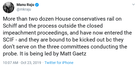 Screenshot-2019-10-23-at-10.50.47-AM Gaetz Attempts To Storm Wednesday Hearing & Suffers Instant Fail Corruption Donald Trump Impeachment Politics Top Stories