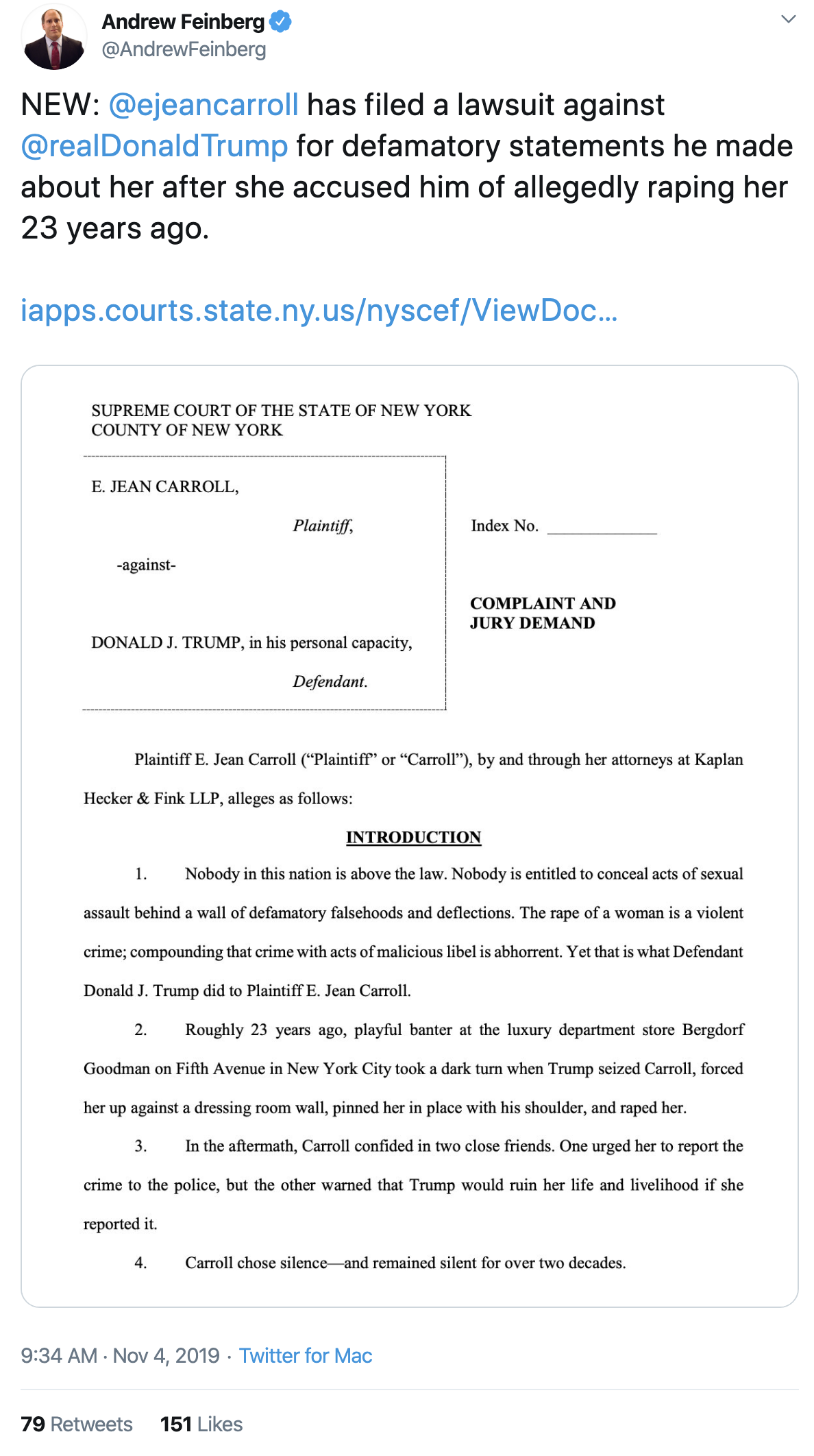 Screen-Shot-2019-11-04-at-10.12.26-AM Trump Accuser Sues Him For Defamation Of Character Corruption Crime Domestic Policy Donald Trump Election 2016 Featured Feminism Me Too Politics Sexism Social Media Supreme Court Top Stories Women's Rights