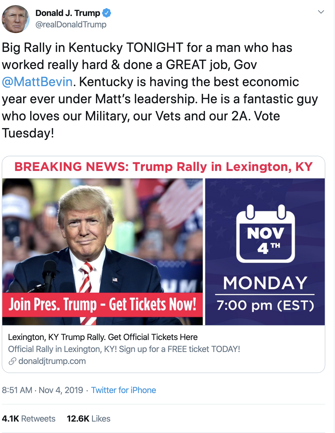 Screen-Shot-2019-11-04-at-9.44.00-AM Trump Continues Monday Morning Mental Breakdown On Twitter Corruption Crime Domestic Policy Donald Trump Economy Election 2016 Election 2020 Featured Foreign Policy Impeachment Investigation National Security Politics Russia Social Media Television Top Stories War White Privilege White Supremacy