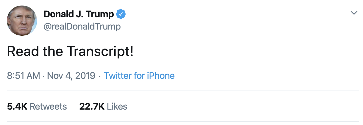 Screen-Shot-2019-11-04-at-9.45.49-AM Trump Continues Monday Morning Mental Breakdown On Twitter Corruption Crime Domestic Policy Donald Trump Economy Election 2016 Election 2020 Featured Foreign Policy Impeachment Investigation National Security Politics Russia Social Media Television Top Stories War White Privilege White Supremacy