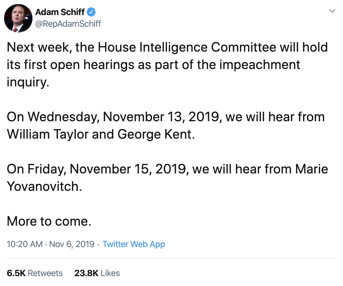 Screen-Shot-2019-11-06-at-11.42.41-AM Adam Schiff Tweets Ominous Wednesday Message To Trump And GOP Corruption Crime Donald Trump Election 2016 Election 2020 Featured Impeachment Investigation National Security Russia Top Stories