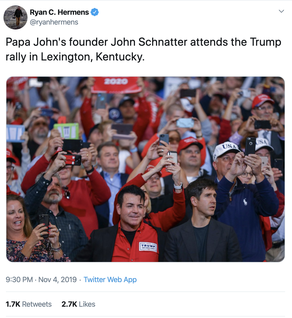 Screen-Shot-2019-11-06-at-3.32.57-PM Papa John Spotted A Trump Rally & It's Not Going Over Well (IMAGES) Corruption Crime Donald Trump Election 2020 Featured History Impeachment Investigation Politics Racism Top Stories