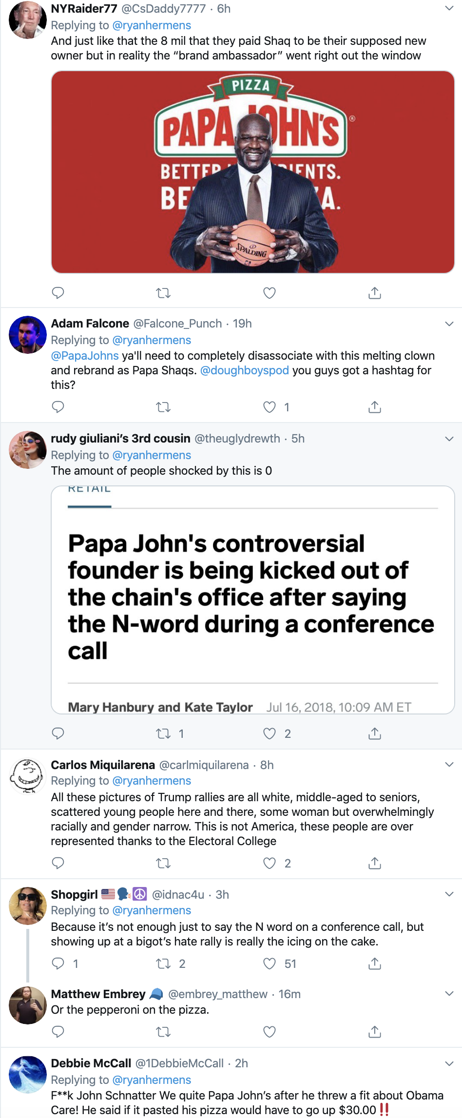Screen-Shot-2019-11-06-at-3.36.16-PM Papa John Spotted A Trump Rally & It's Not Going Over Well (IMAGES) Corruption Crime Donald Trump Election 2020 Featured History Impeachment Investigation Politics Racism Top Stories