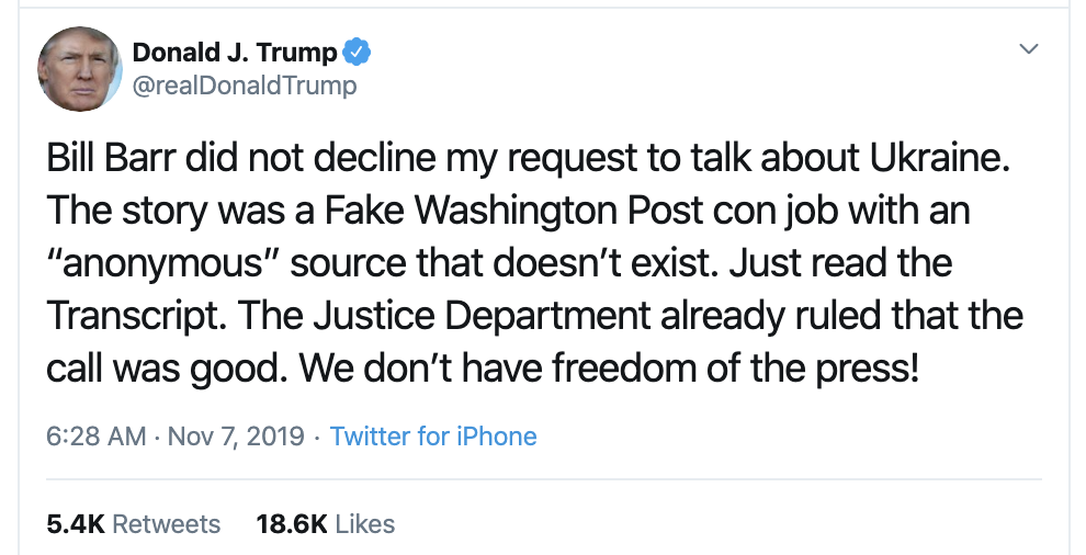 Screen-Shot-2019-11-07-at-7.07.12-AM Trump Slips Up Big Time In Thursday AM Twitter Word Scramble Corruption Crime Donald Trump Election 2020 Fact-Checker Featured Foreign Policy Impeachment Investigation Islamaphobia Military National Security Politics Social Media Top Stories War
