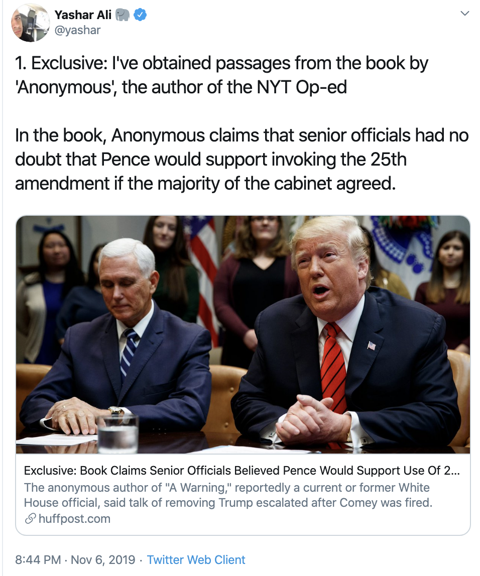 Screen-Shot-2019-11-07-at-7.55.53-AM Pence Team Responds To Claim VP Will Support Impeachment Corruption Crime Domestic Policy Election 2016 Election 2020 Featured Healthcare Impeachment Investigation Mental Illness National Security Top Stories