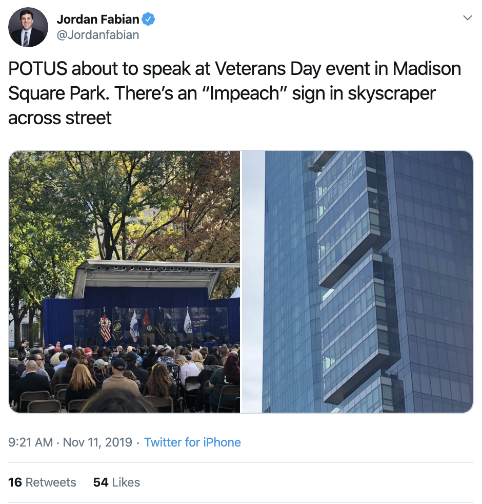 Screen-Shot-2019-11-11-at-10.50.51-AM Trump Trolled From NYC Skyscraper During Veteran's Day Speech Crime Donald Trump Election 2020 Featured Immigration Impeachment Investigation Military Politics Top Stories War