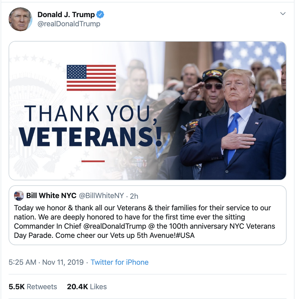 Screen-Shot-2019-11-11-at-7.15.44-AM Trump Tweets 3-Words For Veterans Day - Patriots Get Fed Up Corruption Crime Domestic Policy Donald Trump Election 2020 Featured Foreign Policy Impeachment Investigation Military National Security Politics Top Stories Veterans War