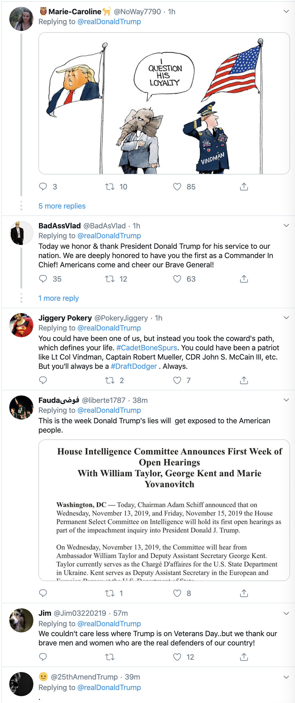Screen-Shot-2019-11-11-at-7.17.53-AM Trump Tweets 3-Words For Veterans Day - Patriots Get Fed Up Corruption Crime Domestic Policy Donald Trump Election 2020 Featured Foreign Policy Impeachment Investigation Military National Security Politics Top Stories Veterans War