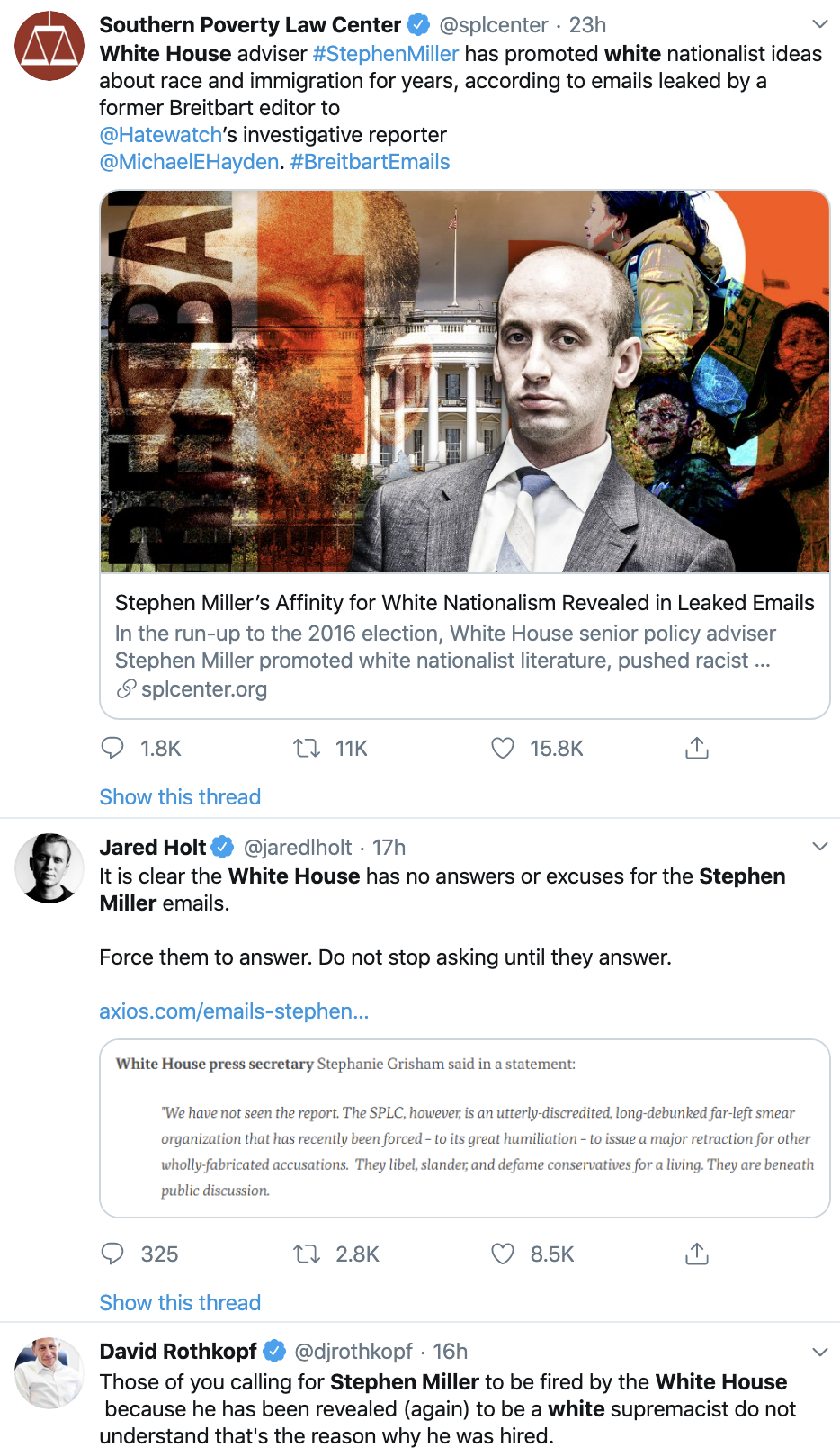 Screen-Shot-2019-11-13-at-9.44.00-AM Stephen Miller Called On To Resign - Mass Online Protests Roar Alt-Right Anti-Semitism Black Lives Matter Child Abuse Civil Rights Conspiracy Theory Corruption Crime Domestic Policy Donald Trump Election 2016 Election 2020 Featured Hate Speech Immigration Investigation Islamaphobia Politics Poverty Racism Refugees Scandal Sexual Assault/Rape Social Media Terrorism Top Stories Violence White Privilege White Supremacy