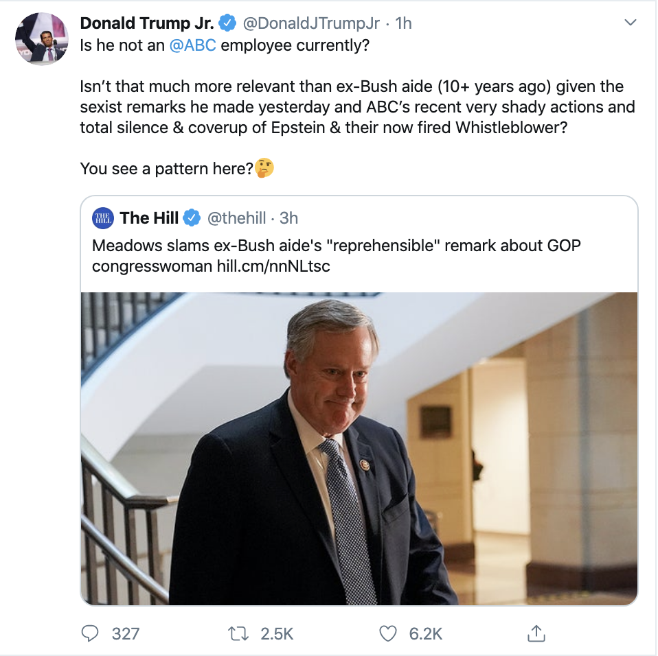 Screen-Shot-2019-11-14-at-3.17.54-PM Don Jr. Is Going Thursday-Crazy On Twitter Over Impeachment Corruption Crime Domestic Policy Donald Trump Election 2016 Election 2020 Featured Feminism Foreign Policy Impeachment Investigation Me Too Media Politics Social Media Television Top Stories Women's Rights